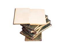 Vecchi libri isolati su priorità bassa bianca Fotografia Stock Libera da Diritti