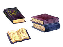 Vecchi libri magici dell'acquerello Immagine Stock Libera da Diritti