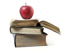 Vecchi libri su priorità bassa bianca Immagini Stock