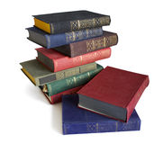 Vecchi libri su priorità bassa bianca Fotografia Stock