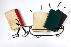 Vecchi libri su priorità bassa bianca il libro porta la conoscenza Concetto di formazione immagini stock libere da diritti
