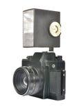 Vecchi macchina fotografica e flash Immagine Stock