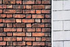 Vecchi mattone e muro di cemento Fotografia Stock Libera da Diritti