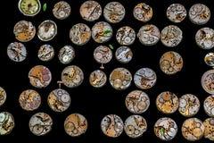 Vecchi meccanismi arrugginiti dell'orologio Fotografia Stock