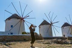 Vecchi mulini a vento dell'isola Mykonos Fotografie Stock