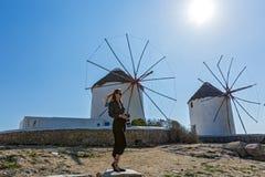 Vecchi mulini a vento dell'isola Mykonos Immagine Stock