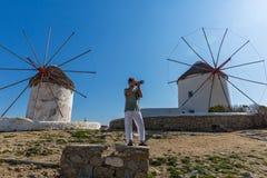 Vecchi mulini a vento dell'isola Mykonos Fotografia Stock Libera da Diritti