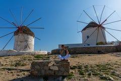 Vecchi mulini a vento dell'isola Mykonos Fotografia Stock