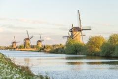 Vecchi mulini a vento dell'Unesco in Olanda, Paesi Bassi Immagini Stock Libere da Diritti