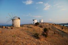 Vecchi mulini a vento di Bodrum Fotografia Stock