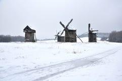 Vecchi mulini a vento, inverno Fotografia Stock