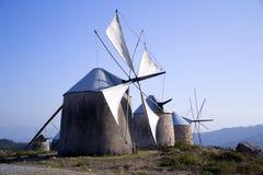 Vecchi mulini a vento, Penacova, Portogallo Fotografie Stock Libere da Diritti