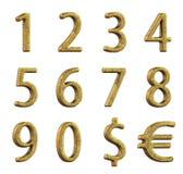 Vecchi numeri dorati su un fondo bianco rappresentazione 3d Fotografia Stock