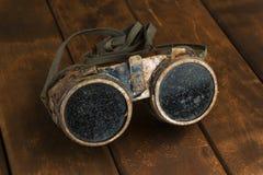Vecchi occhiali di protezione arrugginiti dello steampunk Fotografie Stock Libere da Diritti