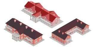 Vecchi palazzi del mattone con la raccolta delle colonne illustrazione vettoriale