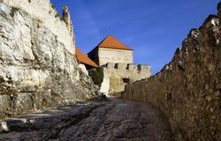 Vecchi pareti e merli del castello Fotografie Stock Libere da Diritti