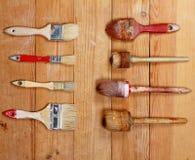 Vecchi pennelli Immagine Stock