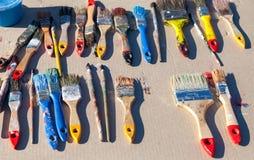 Vecchi pennelli sporchi Fotografia Stock