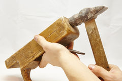 Vecchi piallatrice e martello di legno Fotografie Stock