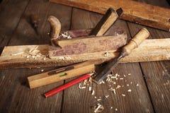 Vecchi piallatrice e scalpello Fotografie Stock