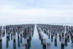 Vecchi piloni di principi Pier, Melbourne, Australia fotografia stock