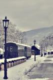 Vecchi retro treno a vapore e vagons Fotografia Stock Libera da Diritti