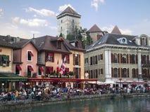 Vecchi ristoranti di Annecy, Francia Fotografia Stock Libera da Diritti