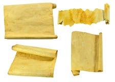 Vecchi rotoli e pergamene messi Fotografia Stock