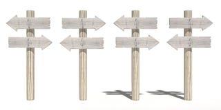 Vecchi segnali di direzione di legno Fotografia Stock