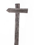 Vecchi segnali stradali di legno, freccii sinistra isolate Fotografia Stock