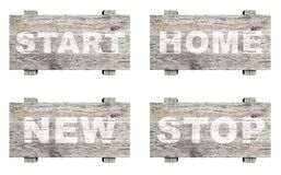 Vecchi segni informativi di legno messi con la parola Fotografia Stock
