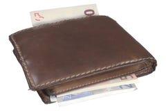 Vecchi soldi della pelle della borsa del raccoglitore Fotografia Stock