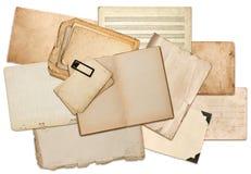 Vecchi strati di carta, pagine del libro, cartoni, strutture della foto Immagine Stock