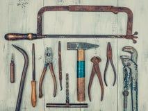 Vecchi strumenti arrugginiti Fotografia Stock
