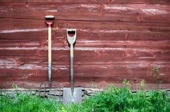 Vecchi strumenti degli agricoltori Fotografie Stock