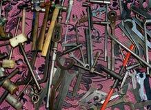 Vecchi strumenti di legno e dell'acciaio Fotografie Stock Libere da Diritti