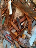 Vecchi strumenti e macchia immagini stock