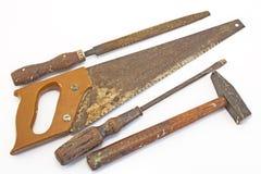 Vecchi strumenti per legno isolato su bianco Fotografie Stock