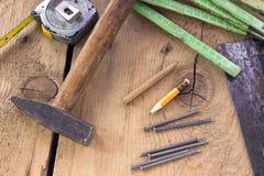 Vecchi strumenti utilizzati di carpenteria Immagine Stock Libera da Diritti