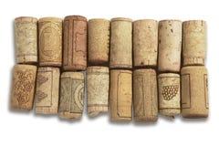 Vecchi tappi del vino-sughero Fotografia Stock