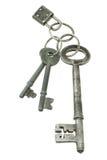 Vecchi tasti con la mini serratura di rilievo Immagine Stock