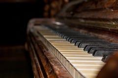 Vecchi tasti del piano Fotografie Stock Libere da Diritti