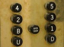 Vecchi tasti dell'elevatore Fotografia Stock Libera da Diritti