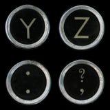 Vecchi tasti della macchina da scrivere Y Z Fotografia Stock Libera da Diritti