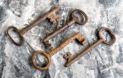 Vecchi tasti di scheletro Fotografie Stock Libere da Diritti