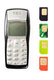 Vecchi telefoni mobili Fotografia Stock Libera da Diritti
