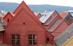 Vecchi tetti delle case di Bergen Fotografia Stock