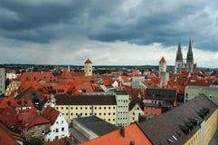Vecchi tetti di Regensburg, Baviera, Germania Fotografia Stock