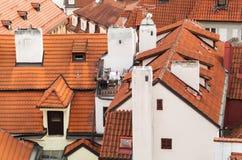 Vecchi tetti rossi piastrellati di Praga Repubblica ceca Fotografia Stock
