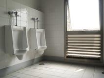 Vecchi toilette pubblica ed orinale due Fotografie Stock Libere da Diritti